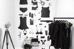 P142601-4 cikkszámú tapéta.Fotórealisztikus,konyha-fürdőszobai,rajzolt,retro,textilmintás,fehér,fekete,gyengén mosható,vlies poszter, fotótapéta