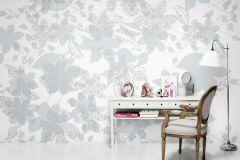 P142803-9 cikkszámú tapéta.Virágmintás,természeti mintás,absztrakt,fehér,szürke,kék,gyengén mosható,vlies poszter, fotótapéta