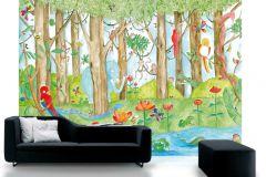 P120101-8 cikkszámú tapéta.állatok,gyerek,különleges motívumos,rajzolt,tájkép,természeti mintás,barna,fehér,fekete,kék,piros-bordó,sárga,zöld,gyengén mosható,vlies poszter, fotótapéta