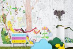 P120102-8 cikkszámú tapéta.állatok,gyerek,konyha-fürdőszobai,különleges motívumos,rajzolt,tájkép,fehér,fekete,gyengén mosható,vlies poszter, fotótapéta