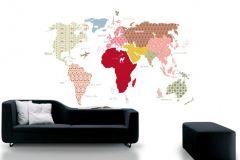 P120201-6 cikkszámú tapéta.Absztrakt,gyerek,rajzolt,barna,fehér,piros-bordó,sárga,zöld,gyengén mosható,vlies poszter, fotótapéta
