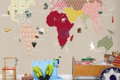 P120202-6 cikkszámú tapéta.Gyerek,rajzolt,bézs-drapp,pink-rózsaszín,piros-bordó,sárga,zöld,gyengén mosható,vlies poszter, fotótapéta