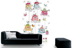 P120301-4 cikkszámú tapéta.állatok,gyerek,különleges motívumos,rajzolt,fehér,fekete,kék,pink-rózsaszín,piros-bordó,sárga,zöld,gyengén mosható,vlies poszter, fotótapéta