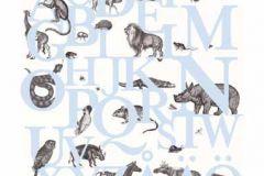 P120401-6 cikkszámú tapéta.állatok,feliratos-számos,gyerek,rajzolt,retro,természeti mintás,fehér,fekete,kék,gyengén mosható,vlies poszter, fotótapéta