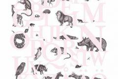 P120402-6 cikkszámú tapéta.állatok,feliratos-számos,gyerek,rajzolt,retro,természeti mintás,fehér,pink-rózsaszín,gyengén mosható,vlies poszter, fotótapéta