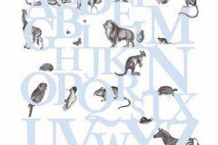 P120404-6 cikkszámú tapéta.állatok,feliratos-számos,gyerek,rajzolt,retro,természeti mintás,fehér,fekete,kék,gyengén mosható,vlies poszter, fotótapéta