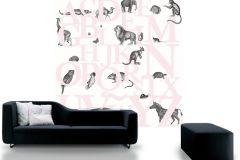 P120405-6 cikkszámú tapéta.állatok,feliratos-számos,gyerek,rajzolt,retro,fehér,fekete,pink-rózsaszín,gyengén mosható,vlies poszter, fotótapéta