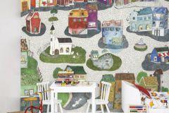 P120501-6 cikkszámú tapéta.Gyerek,rajzolt,tájkép,fehér,fekete,kék,narancs-terrakotta,piros-bordó,zöld,gyengén mosható,vlies poszter, fotótapéta