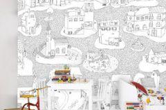 P120502-6 cikkszámú tapéta.Gyerek,rajzolt,tájkép,fehér,fekete,gyengén mosható,vlies poszter, fotótapéta
