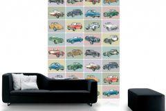 P120601-4 cikkszámú tapéta.Gyerek,különleges motívumos,rajzolt,retro,barna,bézs-drapp,kék,narancs-terrakotta,pink-rózsaszín,piros-bordó,gyengén mosható,vlies poszter, fotótapéta