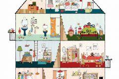 P120701-6 cikkszámú tapéta.Gyerek,különleges motívumos,rajzolt,barna,fehér,kék,narancs-terrakotta,pink-rózsaszín,piros-bordó,zöld,gyengén mosható,vlies poszter, fotótapéta