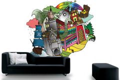 P120801-6 cikkszámú tapéta.Gyerek,különleges motívumos,rajzolt,barna,fehér,fekete,kék,sárga,zöld,gyengén mosható,vlies poszter, fotótapéta