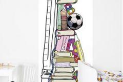 P121103-2 cikkszámú tapéta.Feliratos-számos,gyerek,rajzolt,barna,fehér,fekete,pink-rózsaszín,piros-bordó,sárga,zöld,gyengén mosható,vlies poszter, fotótapéta