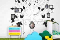 P121202-6 cikkszámú tapéta.Gyerek,különleges motívumos,rajzolt,természeti mintás,fehér,fekete,gyengén mosható,vlies poszter, fotótapéta