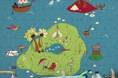 P121301-4 cikkszámú tapéta.Gyerek,rajzolt,természeti mintás,kék,piros-bordó,zöld,gyengén mosható,vlies poszter, fotótapéta