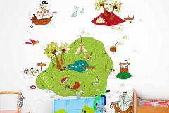 P121302-4 cikkszámú tapéta.Gyerek,különleges motívumos,rajzolt,természeti mintás,fehér,kék,zöld,gyengén mosható,vlies poszter, fotótapéta