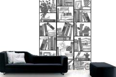 P121601-4 cikkszámú tapéta.Gyerek,különleges motívumos,rajzolt,retro,fehér,fekete,szürke,gyengén mosható,vlies poszter, fotótapéta