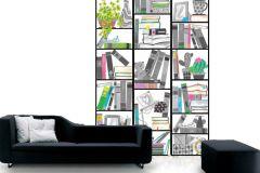 P121602-4 cikkszámú tapéta.Geometriai mintás,gyerek,rajzolt,fehér,fekete,pink-rózsaszín,zöld,gyengén mosható,vlies poszter, fotótapéta