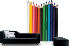 P121702-4 cikkszámú tapéta.Csíkos,fotórealisztikus,gyerek,különleges motívumos,fehér,fekete,kék,pink-rózsaszín,piros-bordó,sárga,zöld,gyengén mosható,vlies poszter, fotótapéta