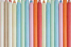 P121703-4 cikkszámú tapéta.3d hatású,csíkos,fotórealisztikus,gyerek,fehér,kék,narancs-terrakotta,zöld,gyengén mosható,vlies poszter, fotótapéta