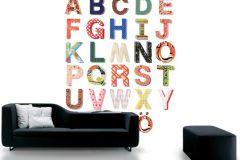 P121803-5 cikkszámú tapéta.Feliratos-számos,geometriai mintás,gyerek,különleges motívumos,rajzolt,retro,barna,kék,pink-rózsaszín,piros-bordó,sárga,zöld,gyengén mosható,vlies poszter, fotótapéta