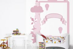 P121901-5 cikkszámú tapéta.Geometriai mintás,gyerek,konyha-fürdőszobai,különleges motívumos,rajzolt,pink-rózsaszín,gyengén mosható,vlies poszter, fotótapéta