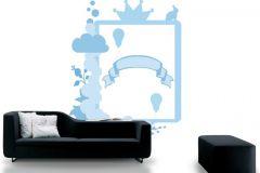 P121902-5 cikkszámú tapéta.Gyerek,konyha-fürdőszobai,különleges motívumos,rajzolt,fehér,kék,gyengén mosható,vlies poszter, fotótapéta
