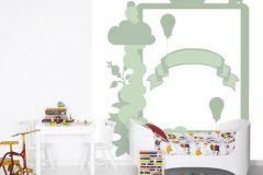 P121904-5 cikkszámú tapéta.Gyerek,különleges motívumos,rajzolt,fehér,zöld,gyengén mosható,vlies poszter, fotótapéta