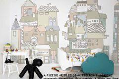 P122101-4 cikkszámú tapéta.Gyerek,különleges motívumos,rajzolt,barna,bézs-drapp,fehér,kék,zöld,gyengén mosható,vlies poszter, fotótapéta
