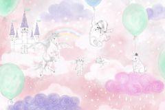 P280109-8 cikkszámú tapéta.állatok,gyerek,rajzolt,fehér,lila,pink-rózsaszín,szürke,zöld,lemosható,vlies poszter, fotótapéta
