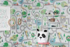 P280117-4 cikkszámú tapéta.Geometriai mintás,gyerek,fehér,kék,szürke,zöld,lemosható,vlies poszter, fotótapéta