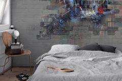 P280124-10 cikkszámú tapéta.Absztrakt,gyerek,kőhatású-kőmintás,különleges motívumos,rajzolt,kék,sárga,szürke,lemosható,vlies poszter, fotótapéta
