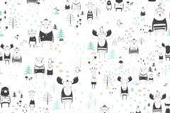 P280125-8 cikkszámú tapéta.állatok,gyerek,rajzolt,természeti mintás,fehér,fekete,zöld,lemosható,vlies poszter, fotótapéta