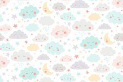 P280126-4 cikkszámú tapéta.Gyerek,természeti mintás,fehér,kék,pink-rózsaszín,sárga,szürke,zöld,lemosható,vlies poszter, fotótapéta