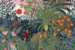 P280129-8 cikkszámú tapéta.állatok,rajzolt,tájkép,természeti mintás,kék,narancs-terrakotta,pink-rózsaszín,zöld,lemosható,vlies poszter, fotótapéta