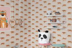 P280131-4 cikkszámú tapéta.állatok,gyerek,barna,bézs-drapp,fekete,narancs-terrakotta,lemosható,vlies poszter, fotótapéta