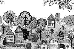 P280138-6 cikkszámú tapéta.Gyerek,rajzolt,tájkép,természeti mintás,fehér,fekete,szürke,lemosható,vlies poszter, fotótapéta