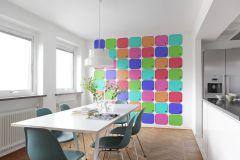 P180102-6 cikkszámú tapéta.Feliratos-számos,gyerek,kockás,különleges motívumos,rajzolt,retro,kék,lila,narancs-terrakotta,zöld,gyengén mosható,vlies poszter, fotótapéta
