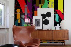 P180501-6 cikkszámú tapéta.Feliratos-számos,fekete,kék,narancs-terrakotta,piros-bordó,sárga,gyengén mosható,vlies poszter, fotótapéta