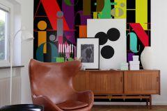 P180503-6 cikkszámú tapéta.Feliratos-számos,különleges motívumos,rajzolt,retro,bézs-drapp,fekete,lila,narancs-terrakotta,piros-bordó,sárga,zöld,gyengén mosható,vlies poszter, fotótapéta