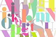 P180504-6 cikkszámú tapéta.Feliratos-számos,gyerek,különleges motívumos,rajzolt,retro,bézs-drapp,fehér,lila,sárga,zöld,gyengén mosható,vlies poszter, fotótapéta