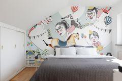 P180901-8 cikkszámú tapéta.Rajzolt,retro,emberek-sztárok,gyerek,különleges motívumos,bézs-drapp,fehér,fekete,kék,pink-rózsaszín,piros-bordó,sárga,zöld,gyengén mosható,vlies poszter, fotótapéta