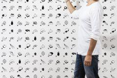 P181101-4 cikkszámú tapéta.Gyerek,különleges motívumos,rajzolt,retro,fehér,fekete,szürke,gyengén mosható,vlies poszter, fotótapéta