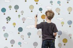 P181301-4 cikkszámú tapéta.Absztrakt,gyerek,különleges motívumos,pöttyös,rajzolt,retro,fehér,kék,gyengén mosható,vlies poszter, fotótapéta