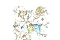 P182101-6 cikkszámú tapéta.Gyerek,különleges motívumos,rajzolt,retro,természeti mintás,barna,kék,sárga,zöld,gyengén mosható,vlies poszter, fotótapéta