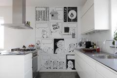 P182201-4 cikkszámú tapéta.Különleges motívumos,rajzolt,retro,fehér,fekete,gyengén mosható,vlies poszter, fotótapéta
