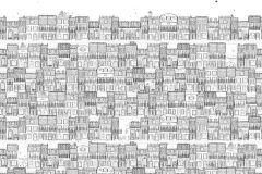 P182401-5 cikkszámú tapéta.Absztrakt,gyerek,különleges motívumos,rajzolt,retro,fehér,fekete,szürke,gyengén mosható,vlies poszter, fotótapéta