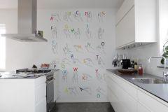 P182501-4 cikkszámú tapéta.Feliratos-számos,gyerek,rajzolt,retro,fehér,fekete,kék,piros-bordó,sárga,zöld,gyengén mosható,vlies poszter, fotótapéta