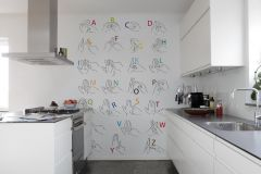 P182502-4 cikkszámú tapéta.Feliratos-számos,különleges motívumos,rajzolt,retro,fehér,fekete,kék,piros-bordó,sárga,zöld,gyengén mosható,vlies poszter, fotótapéta