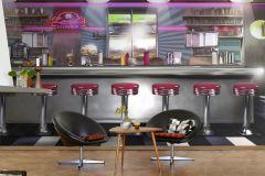 P160701-9 cikkszámú tapéta.Rajzolt,retro,barna,ezüst,fehér,fekete,kék,piros-bordó,sárga,gyengén mosható,vlies poszter, fotótapéta